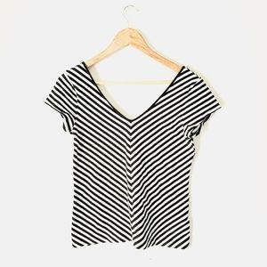 Striped Deep V-neck Top